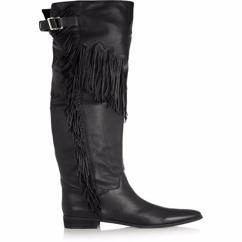 Thigh High Boots Women's Tassel Buckles Flat Bottomed Over-the-knee Long Boots Customized Genuine Leather Motorcycle Boots Shoes