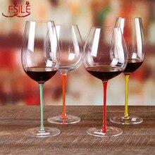 High end bordo cam kırmızı şarap şişesi kristal cam büyük göbek kadeh bordo şampanya kadehi lüks düğün ziyafet tost cam