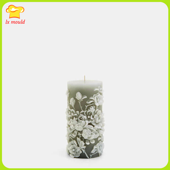 2017 new flower embossed gray silicone mold pattern candle mold cylindrical candle mold