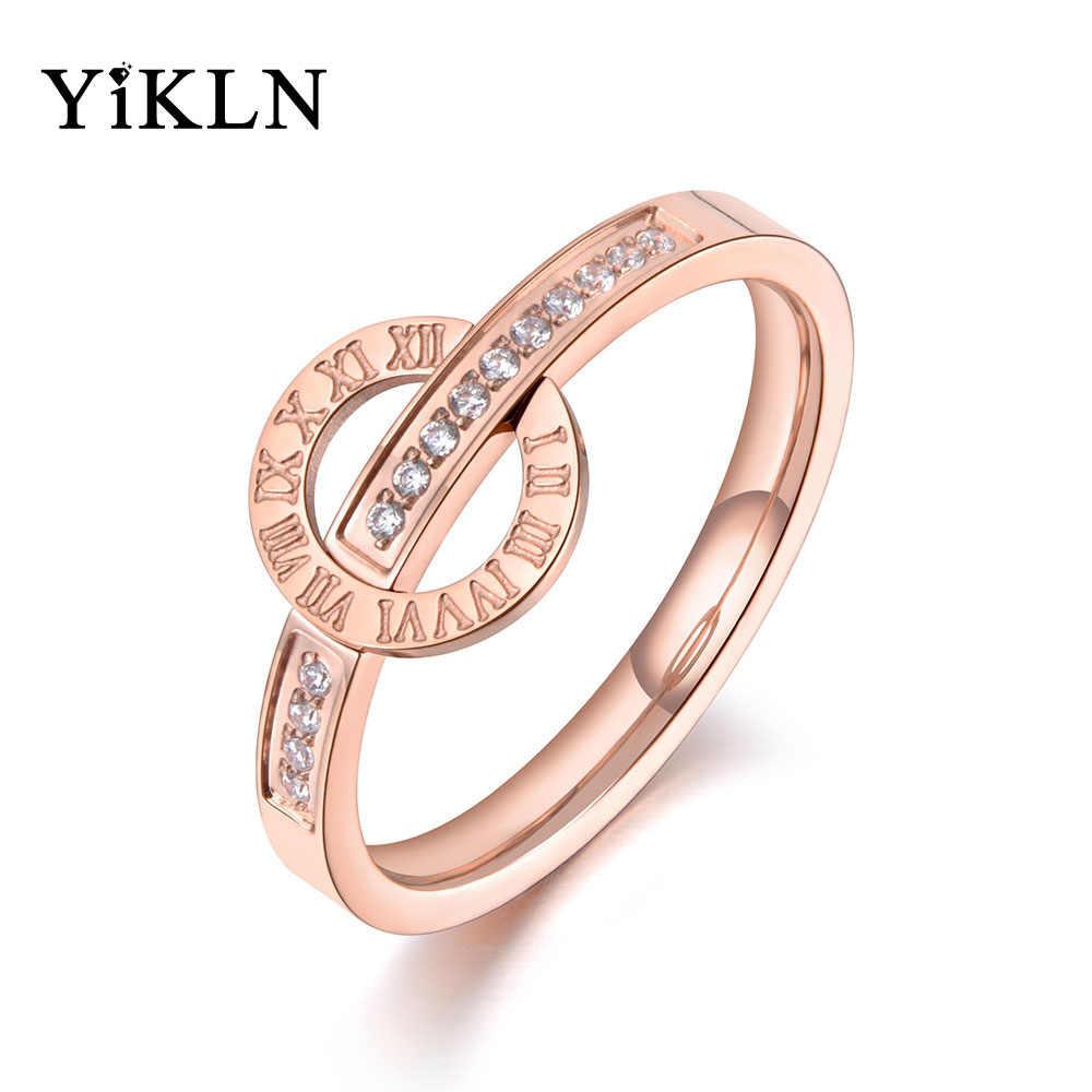 Anillo de acero inoxidable de Oro Rosa Niña Amor Encanto Joyas Anillos de dedo anillo de bodas