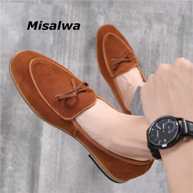Misalwa 37-48 chaussures plates pour homme tenue décontractée chaussures vert vache daim cuir chaussures formelles fête costume britannique élégant Gentleman mocassins