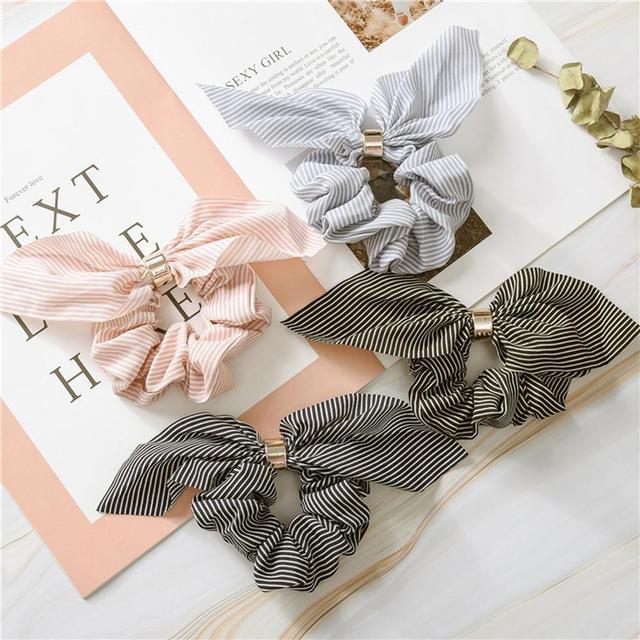 Korea Cute Rabbit Ear Striped Metal Buckle Hair Scrunchies Elastic Hair Bands Ties Rope Bands Ponytail Bands Hair Accessories 6