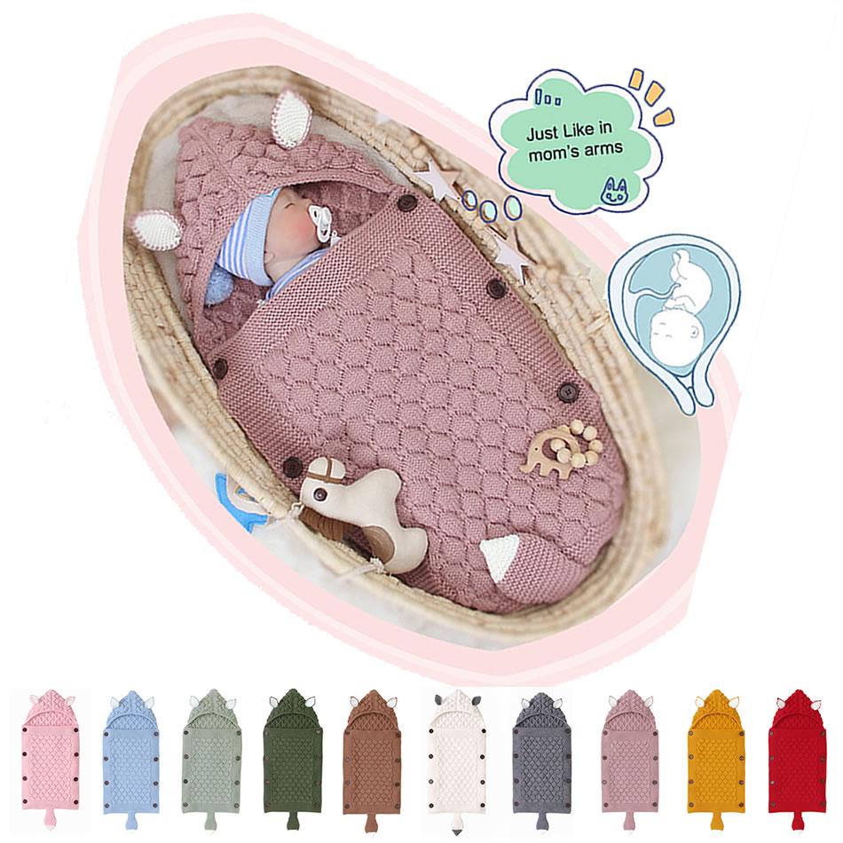Toddler Knitted Sleep Sack Baby Cute Animal Molding Sleeping Bag Newborn Infant Warm Outdoor Stroller Blanket Swaddle Wrap 1-12M