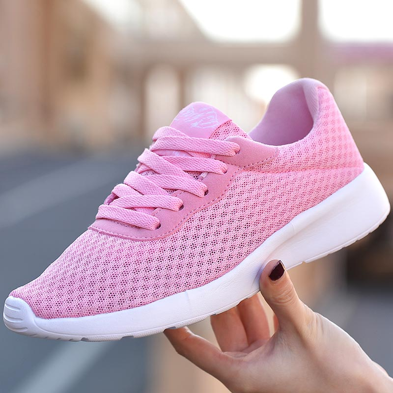 Lightweight Women Gym Shoes Sport Sneakers Woman Running Shoes Woman Footwear Female Sports Women Summer Pink Fitness Race B-412
