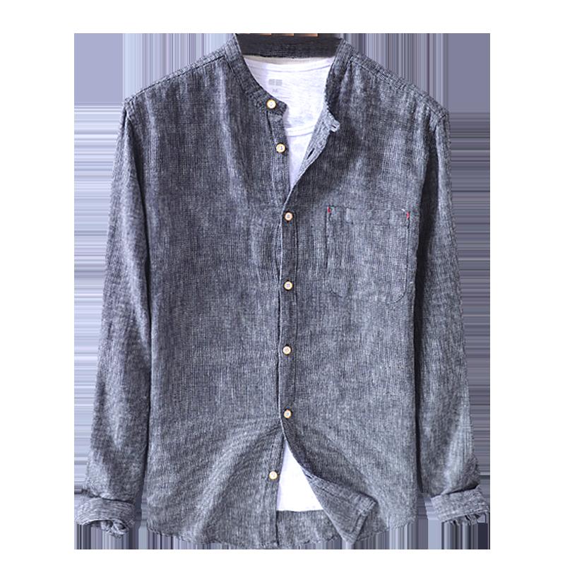 Linen Shirt Men Summer Chinese Style Shirt Long Sleeve Summer Shirts For Men Vintage Men's Shirt Stand Collar Button Cotton Line