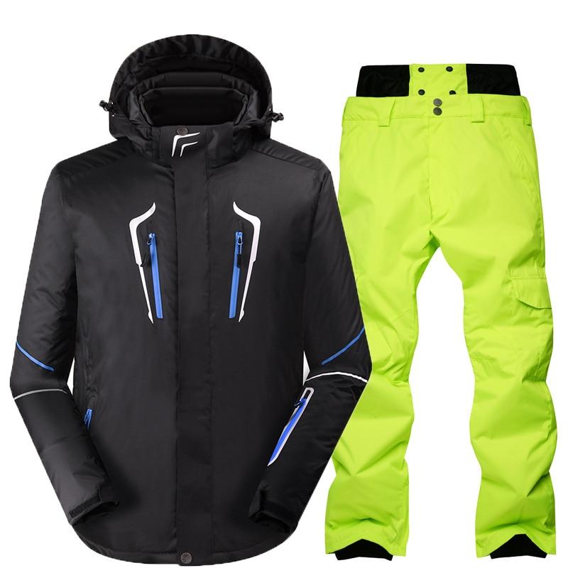 Winter Ski Suit Men Outdoor Sport Snowboard Jacket Waterproof Skiing Set Warm Thickening Overalls Snow Clothing Ski Pants Jacket