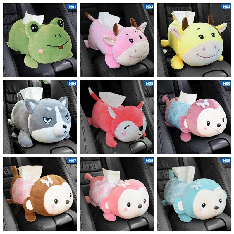 Cute Armrest Tissue Box Cartoon Plush Animals Car Tissue Drawer Box Multi-use Napkin Paper Headrest Pillow Car Interior Decor