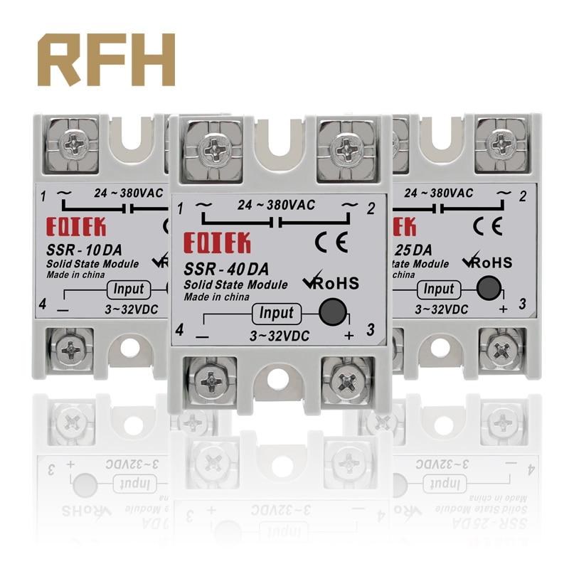 SSR -10DA/25DA/ 40DA DC Control AC SSR White Shell Single Phase Solid State Relay Without Plastic Cover