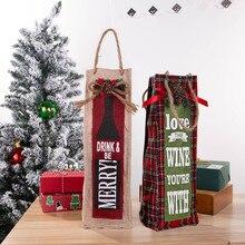 Новогодние рождественские сумки для винных бутылок вечерние красный, льняной крышки бутылки вина сумки Рождество для дома вечерние декор для обеденного стола