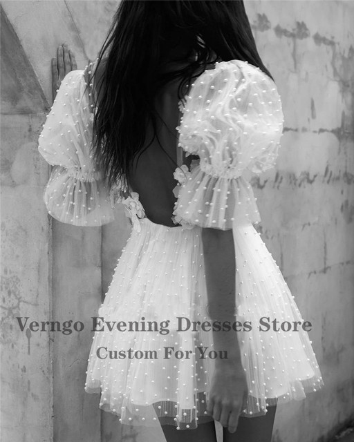 Verngo Modest Ivory Tulle Pearls Short Prom Dresses 3D Flowers Deep V Neck Puff Sleeves Mini Sexy Backless Party Formal Gown 3