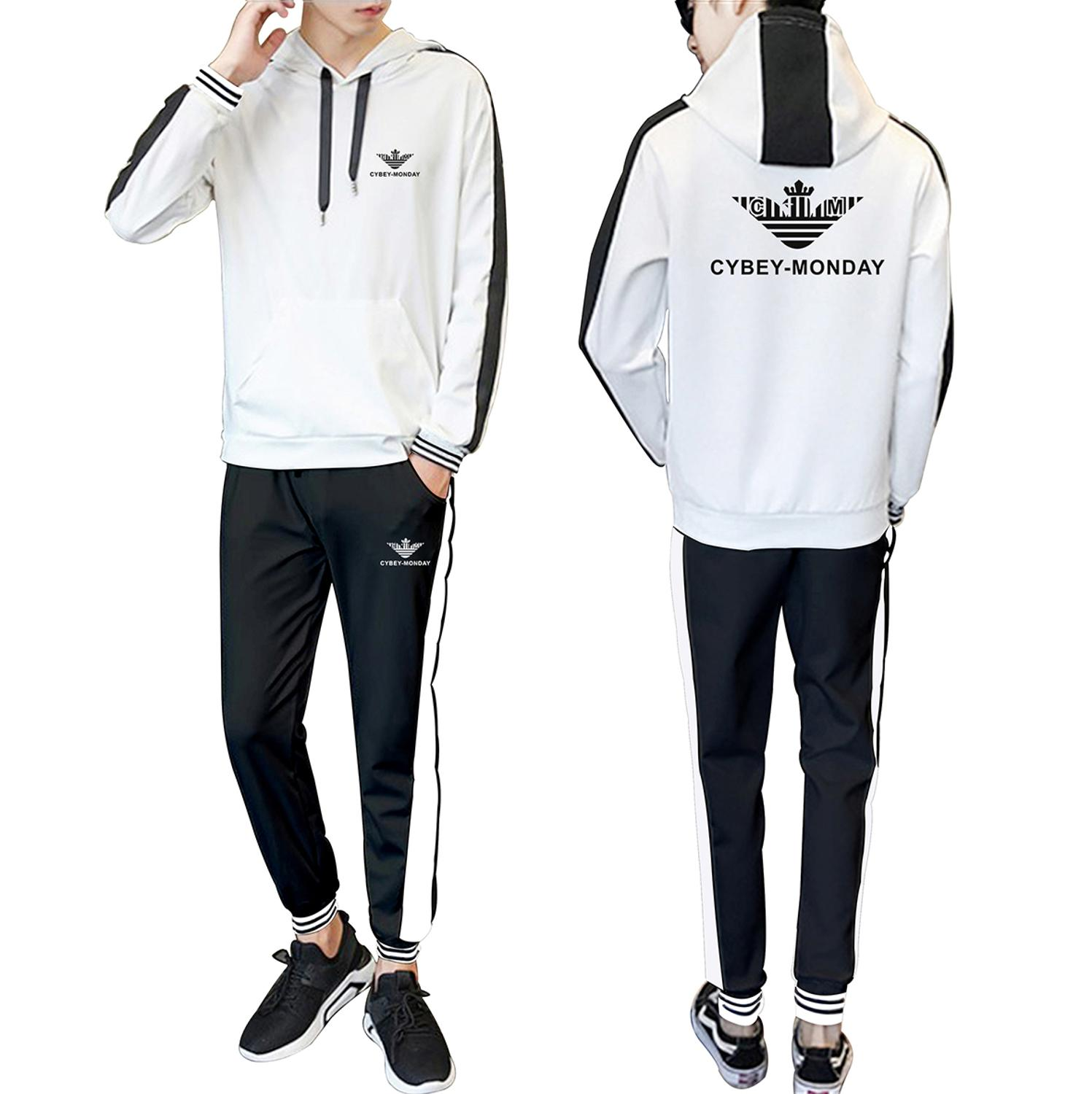 Sports New Logo 2020 Spring and Autumn New Hooded Stitching Fashion Casual Suit Fashion Men's and Women's Sports Casual Suit 2