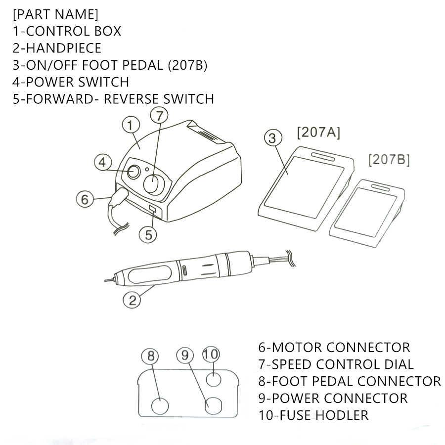 STERKE 207 35000RPM Control Box & STERKE 210 102L Micromotor Handstuk Elektrische Manicure Boor Set Voor Nail polijsten apparaat