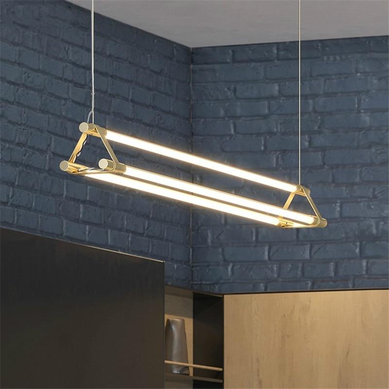 Nordic Minimalist Pendant Lights Simple Long Strip Restaurant Bar Hanglamp Modern Creative Luxury Brass Dining Room Hanging Lamp