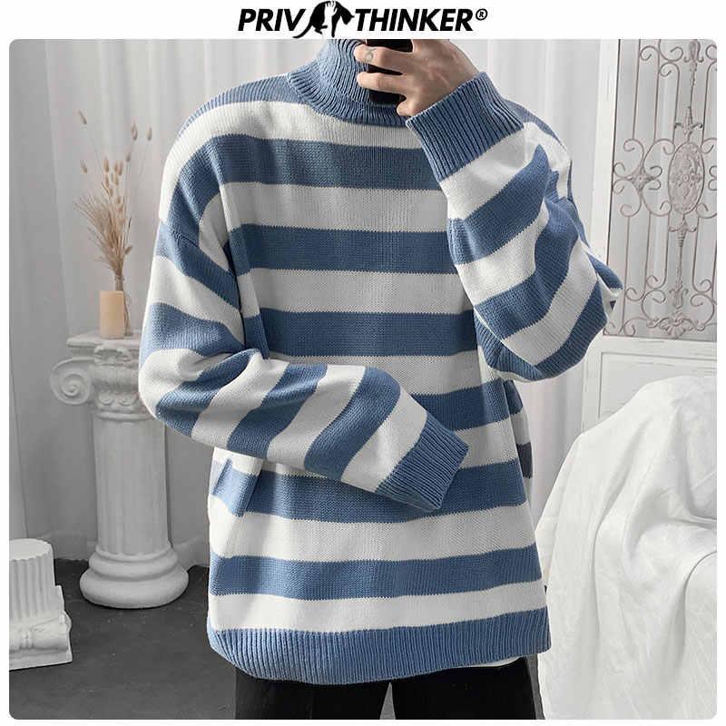 Privathinker Männer Neue Gestreiften Pullover Herren Frau Herbst Winter Gestrickte 2020 Kleidung Männlichen Bunte Rollkragen Pullover Pullover