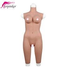 Mastürbasyon için seks oyuncakları erkekler için vajina gerçek Pussy ile silikon meme formları sürükle kraliçe Bodysuit Crossdressing için transseksüel