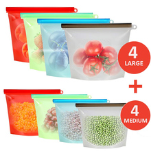 1000ml 1500ml Zip Lock Airtight Seal Silicone Bag Reusable Food Storage for Cooking Sandwich Snack Bags