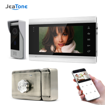 Jeatone 7 inch IP Wifi Video Door Phone System Support Motion Detect Recording Doorbell Camera for Home Video Doorbell with Lock цена 2017