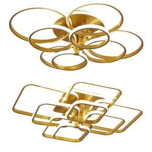 Image 5 - Современная Люстра для гостиной, спальни, AC85 265V, акриловая, алюминиевая, золотистая/белая/кофейная рамка, потолочные светильники