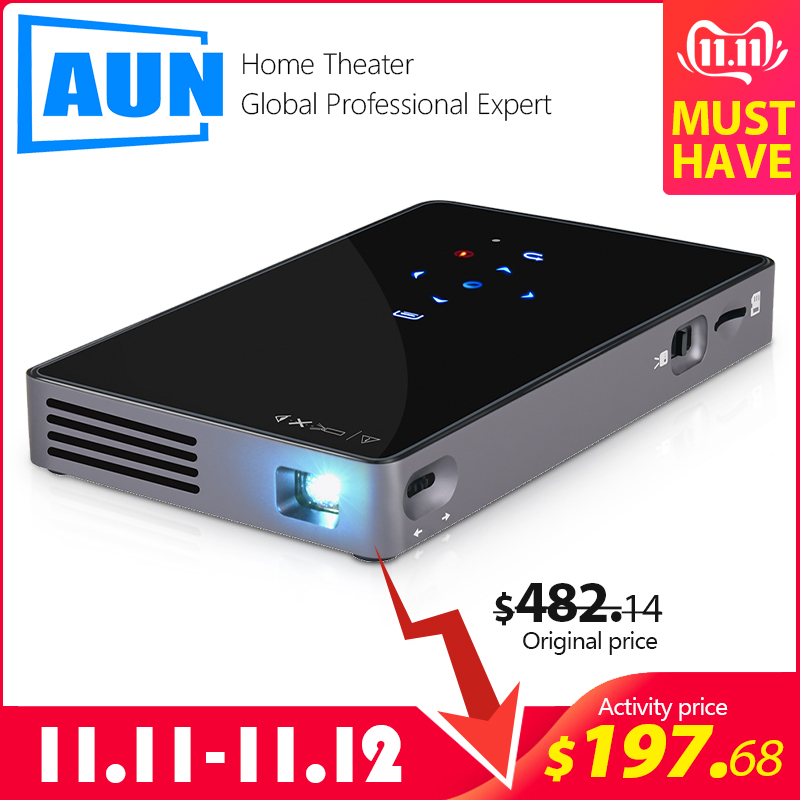 AUN MINI Projector D5S, Android 7.1 (RAM:2G+ROM:32G) WIFI, 5000mAH Battery, Portable LED Projector for 1080P Video, 3D beamer