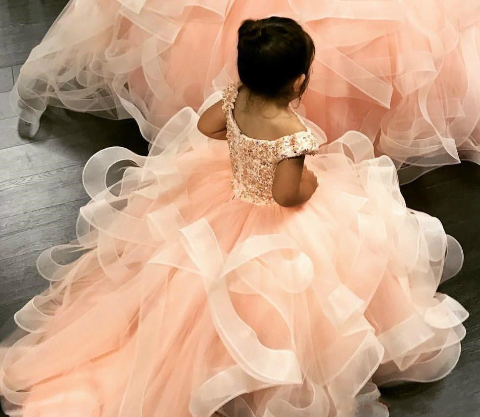 Orange Sweety Ball Gown Girls Pageant Dresses Ruffles Beaded Crystal Lace Applique Flower Girl Dress Kids Birthday Dress - 2
