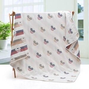 Image 1 - Mantas de muselina para bebé, 6 capas de gasa de algodón suave antikick edredón para recién nacido, toalla infantil de envolver, Toalla de baño para niños 110*110cm