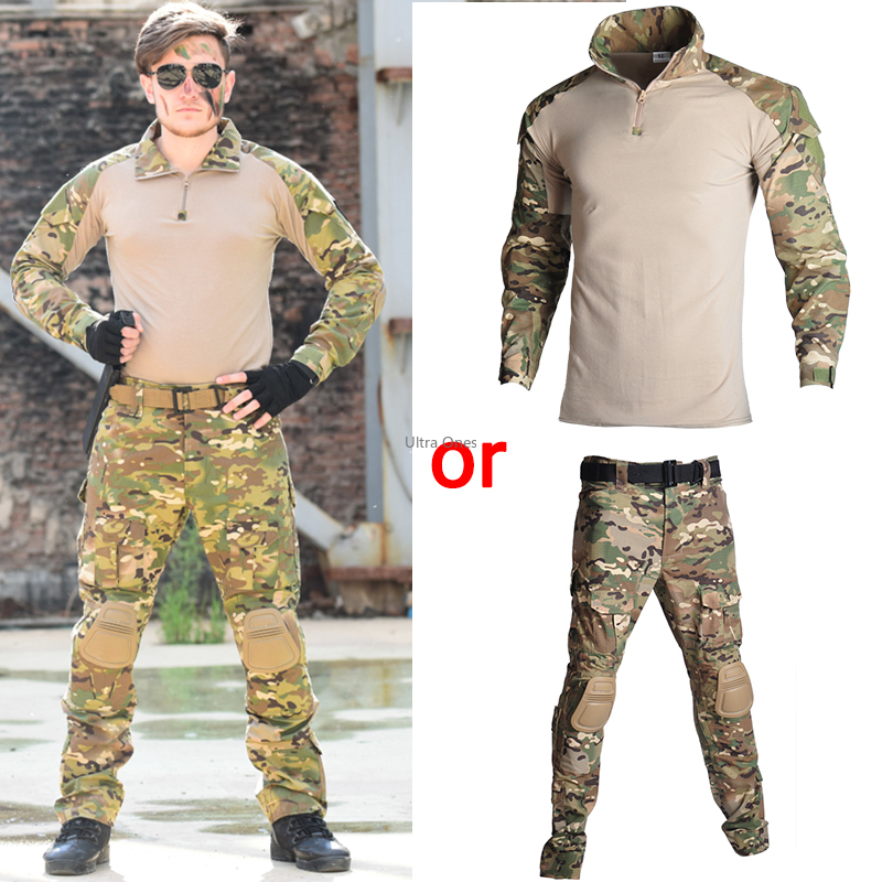 Military Hunting Clothings Tactical Multicam Airsoft Shooting T-shirt or Pants Paintball Training Combat Camo Army Combat Suits