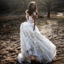UMK 3D çiçekler dantel düğün elbisesi 2020 seksi Backless kısa kollu Boho Vestido de Noiva See through A Line gelinlikler