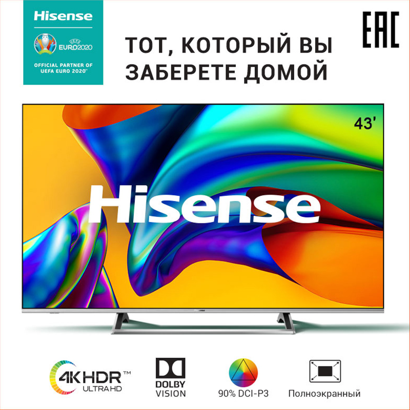 Tv-Sets Television Hisense 43 H43A6140 Smart TV All-metal Bezel-less Dolby Vision Digital 43'-Inch Metal Stand One-Piece