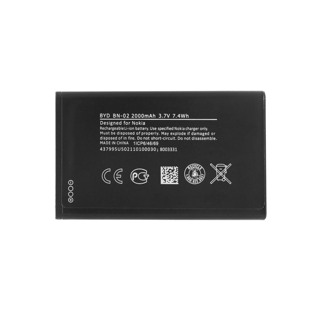 2000mAh BN-02 Lithium Li-Po phone battery Replacement Phone Rechargeable <font><b>BN02</b></font> Battery For Nokia XL 4G RM-1030 RM-1042 RM 1061 image