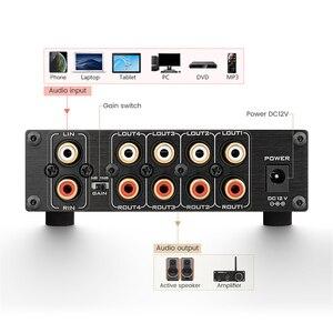 Image 4 - HIFI Lossless 1 קלט 4 פלט RCA אודיו מפיץ NE5532 Op Amp אות בורר טון נפח רווח התאמות עבור מגבר