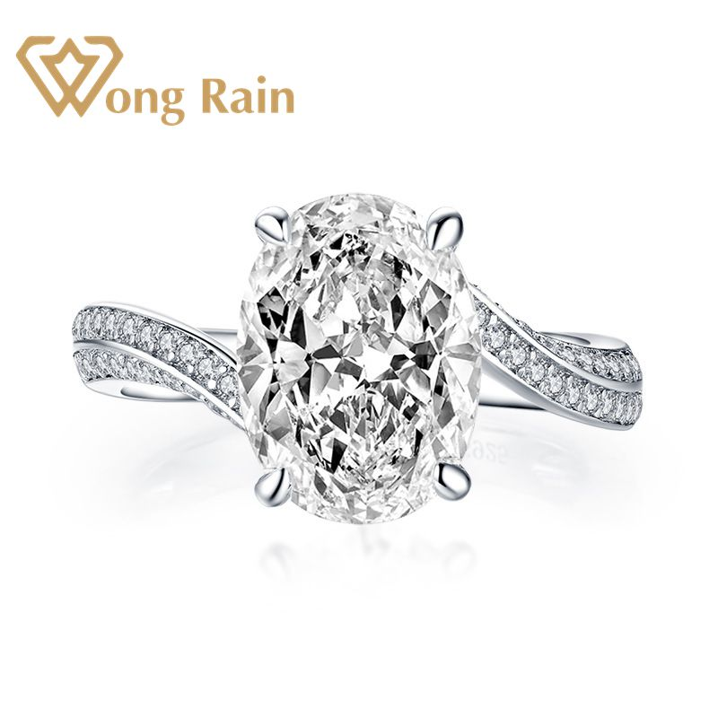 Wong Rain 100% 925 Sterling Silver Created Moissanite Gemstone Diamonds Wedding Engagement Party Ring Fine Jewelry Wholesale