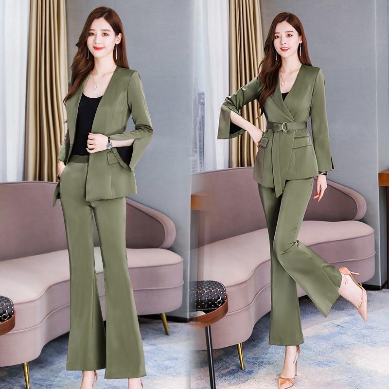Temperament professional women's suit Autumn new slim waist long sleeve ladies jacket Office casual trouser suit high quality 36