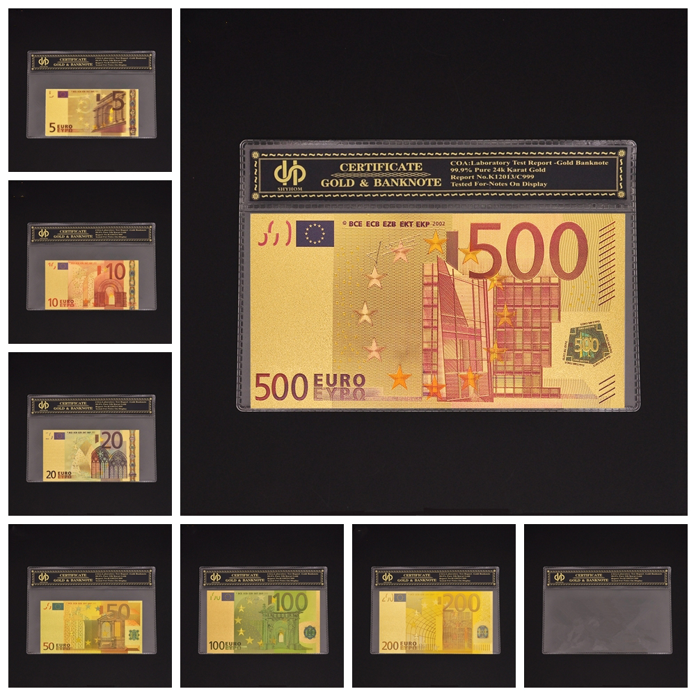 7PCS/Lot Color Euro Banknote Sets 5 10 20 50 100 200 500 Euro Fake Banknote Paper Money Collection