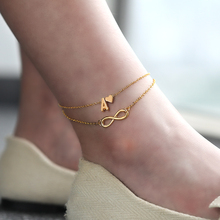 Boho Initial Anklet Heart Infinity Ankle Bracelet  Double Layers Anklets For Women on Leg Chain 26 Letter Bracelet Foot Jewelry 3pcs set fashion bracelet on the leg women simple copper chain anklet ankle bracelet foot jewelry woman s accesories