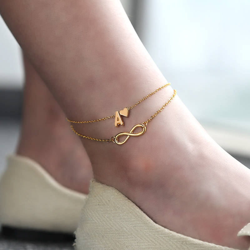 Boho Initial Anklet Heart Infinity Ankle Bracelet Double Layers Anklets For Women on Leg Chain 26 Letter Bracelet Foot Jewelry