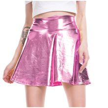 Frauen Casual Mode Shiny Metallic Ausgestelltes Plissee A-linie Mini Rock Plissee Rock Tanz Rosa Mini Rock Frauen Sexy(China)