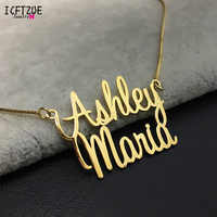 Collar personalizado de doble nombre para mujeres, collar de cadena de oro de acero inoxidable personalizado, joyería de regalo de vacaciones, bisutería para mujer