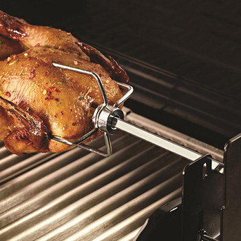 Universal Grill Rotisserie Kit Complete BBQ Kit with Spit Rod Meat Fork Electric Motor FAS6