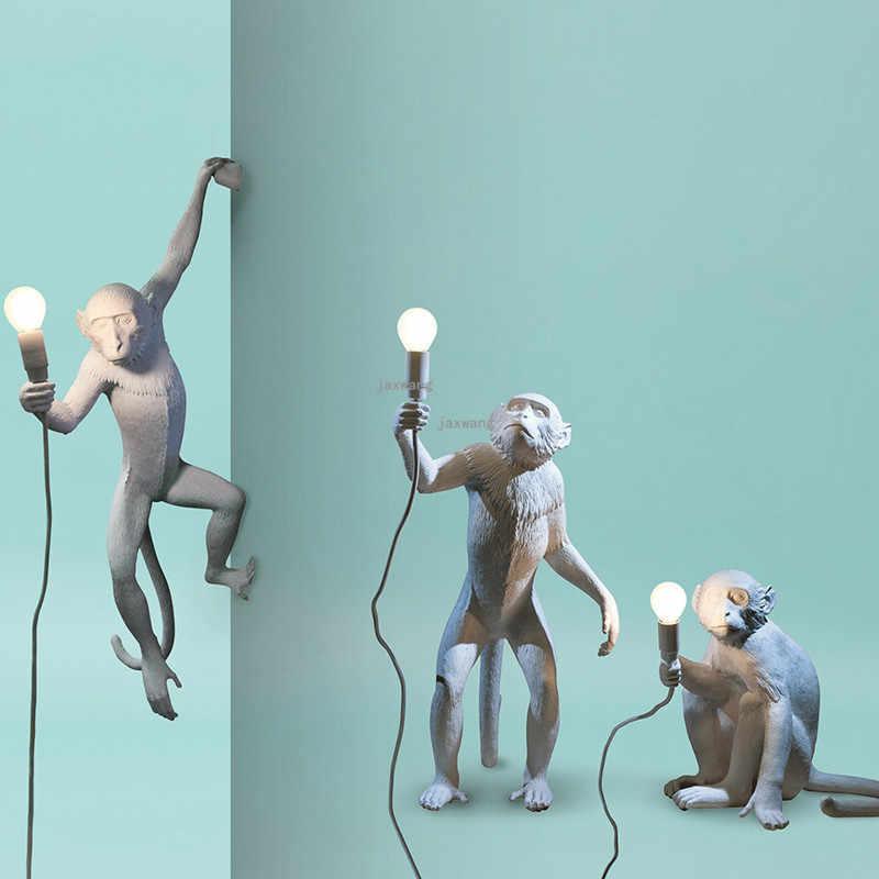 現代の樹脂猿ランプ LED ペンダントランプライト照明光沢リビングルームのベッドルームの照明器具ロフトぶら下げランプキッチン器具