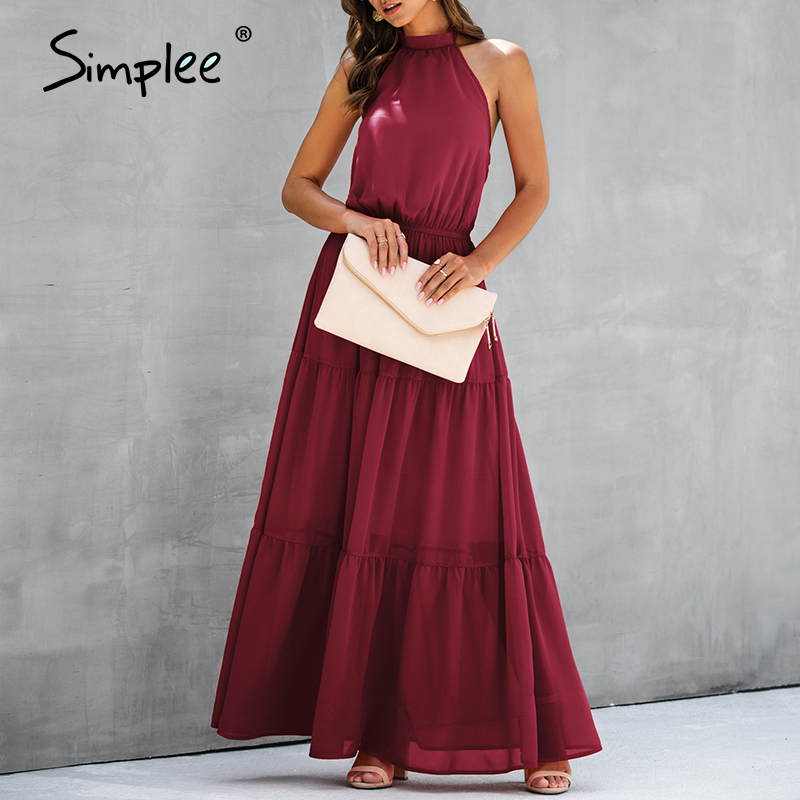 Simplee Sexy backless evening party dress Women plus size solid bow high waist maxi dress Elegant slim fit beach bodycon dress
