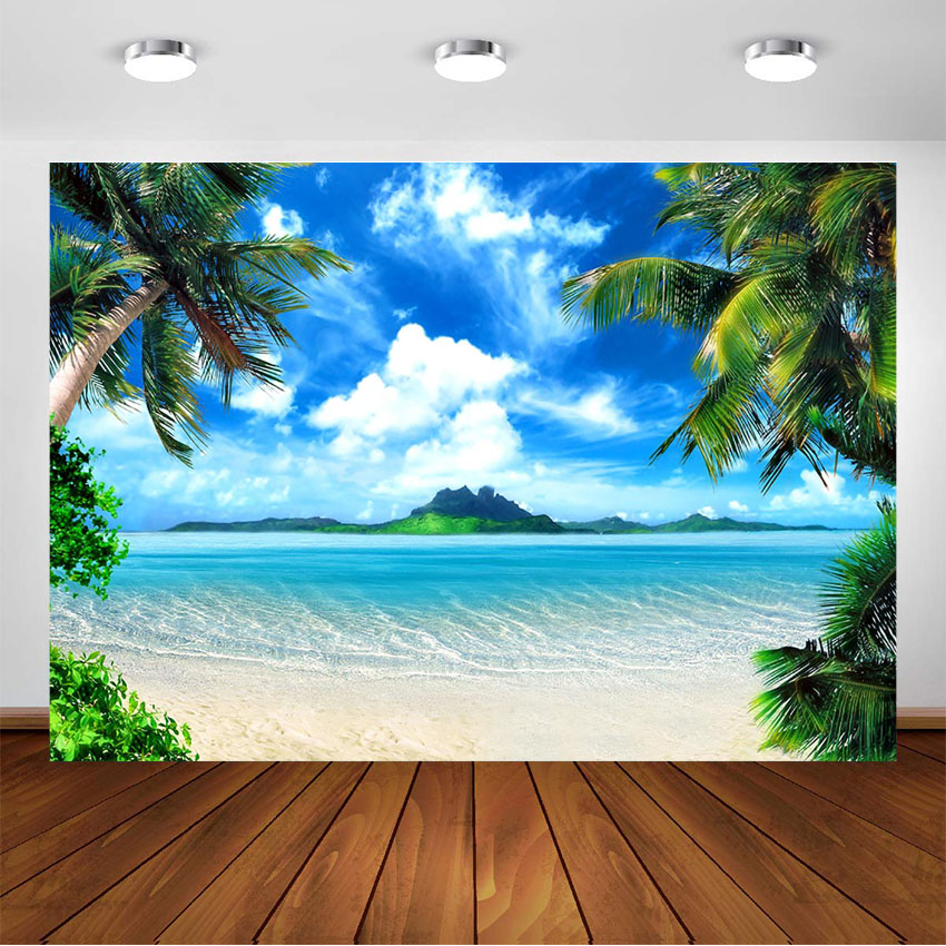 Beach Blue Sky White Clouds Photography Background Baby Summer Beach Backdrop for Photographic Studio Photographer Photo Shoot