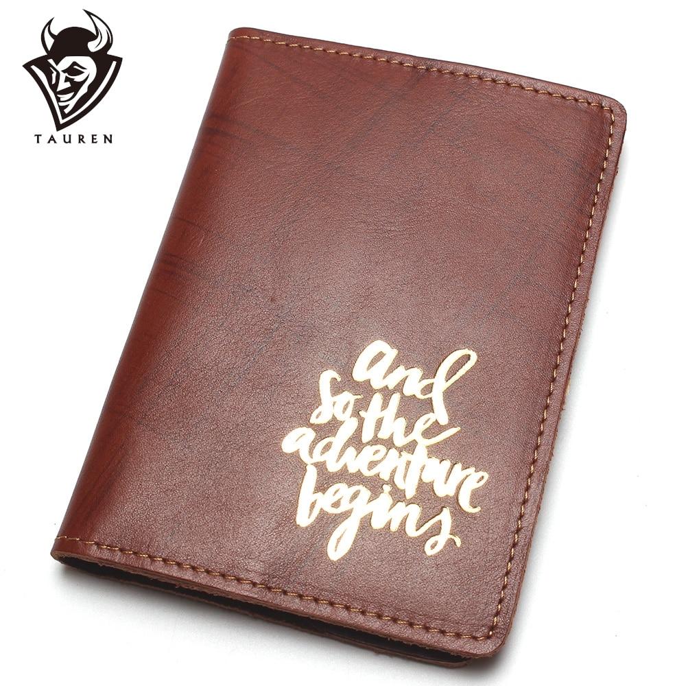 Travel Passport Wallet Vintage Crazy Horse Passport Cover Genuine Leather Passport Holder Printing Passport Id Bag