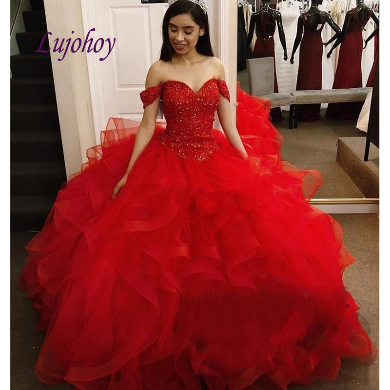 Red Luxury Quinceanera Dresses Ball Gown Plus Size Crystal Beaded Masquerade 15 Year Old Sixteen Sweet 16 Prom Dress Quinceanera Dresses Aliexpress