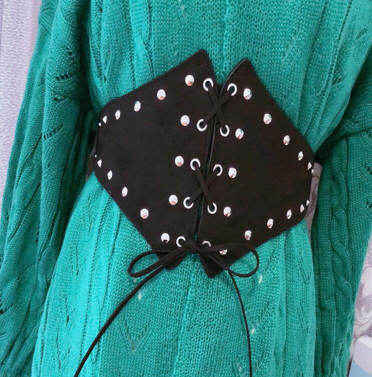 Women's Runway Fashion Rivet PU Leather Cummerbunds Female Dress Coat Corsets Waistband Belts Decoration Wide Belt R1743
