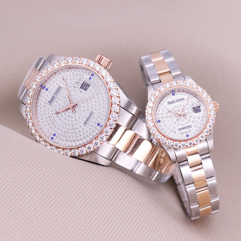 Claw-setting Men's Watch Women's Watch Fine Full Crystal Clock Stainless Steel Bracelet Luxury Lovers' Gift Royal Crown