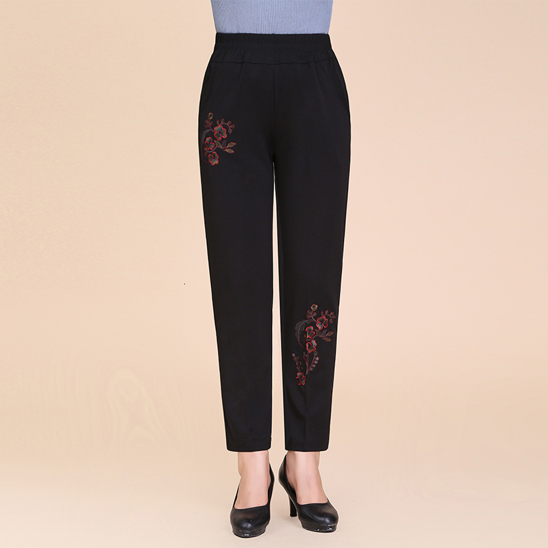 Autumn Winter Velvet Straight Pants Women 2019 Causal High Wiast Trousers Warm Thick Embroidery Pants Pantalones Mujer Plus Size