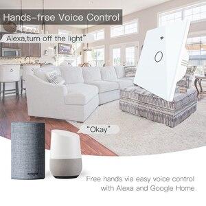 Image 4 - WiFi Smart Switch Fernbedienung Glas Panel Tuya Licht Schalter Funktioniert Mit Alexa Echo Google Home RF433 EU Typ Weiß touch