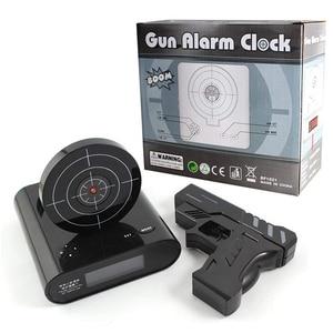 Image 4 - אקדח שעון מעורר גאדג ט יעד לייזר לירות לצריבה דיגיטלי אלקטרוני שולחן שעון שולחן שעון מצחיק שעון נודניק לילדים