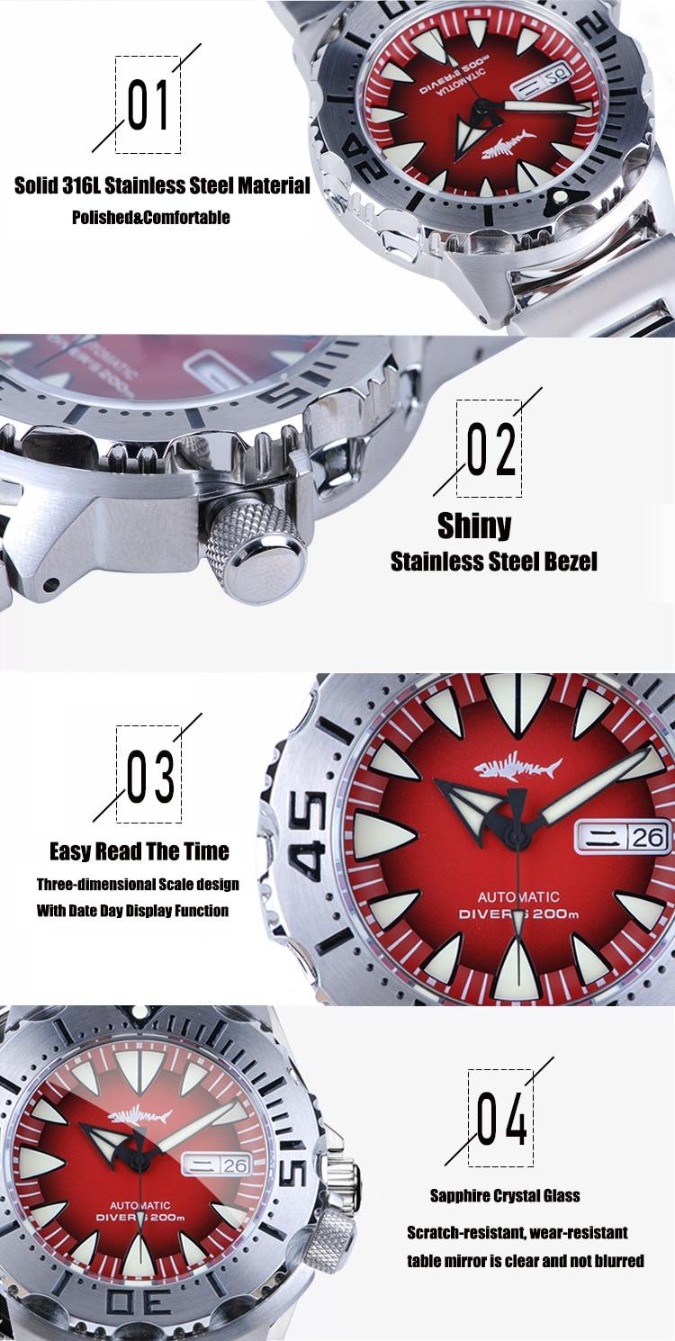 Heimdallr monstro relógio automático masculino nh36a relógios