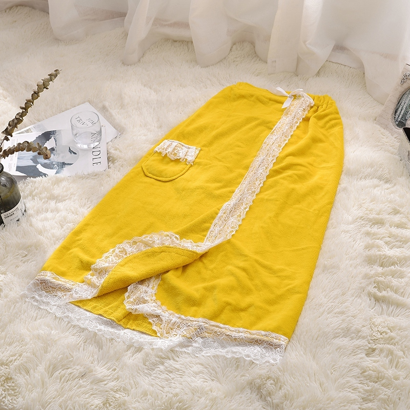 1pc Bath Skirt 100% Cotton Yellow Color Bathrobe with Skirt Nylon Lace Absorption Water Soft Bathroom Towel for Adults Yaapeet